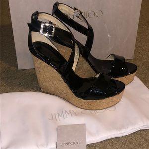 Jimmy choo portia wedge 120 sandal 37.5 NEW